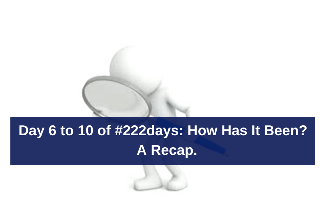 Day 6 to 10 of #222days: How Has It Been?  A Recap.